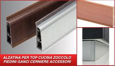 ALZATINA PER TOP CUCINA ZOCCOLO GANCI IN PVC PIEDI REGOLABILI
